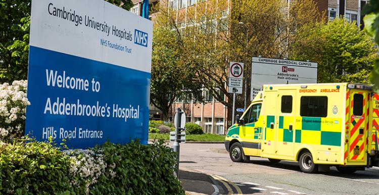 Addenbrookes Hospital sign and ambulance