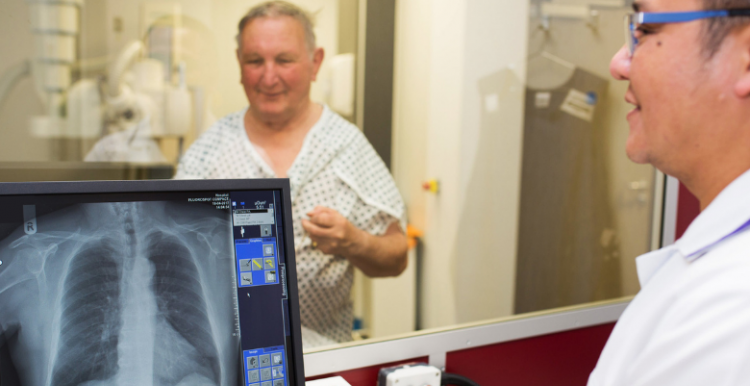 hospital patient undergoing tests