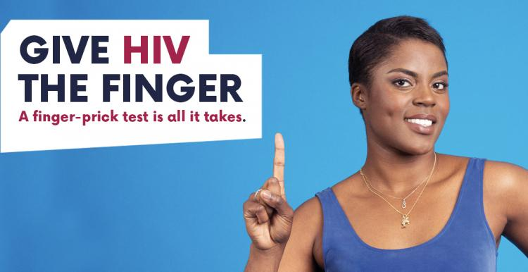 Give HIV the finger advert - woman with finger in air
