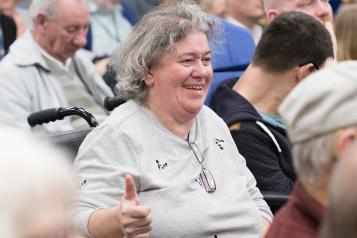 Wheelchair user at Healthwatch event