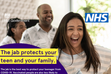 """Picture shows two teenage girls and parent laughing and the words """"the jab protects your teen and your family"""