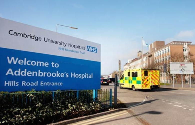 Exterior of Addenbrooke's Hospital in Cambridge