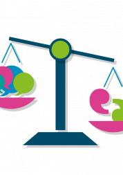 Graphic shows set of scales weighing Healthwatch icons