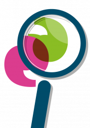 Picture shows graphic of magnifying glass lookin at Healthwatch icons