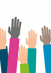 graphic showing raised hands