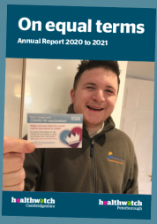 Picture shows cover of annual report. Picture of man holding Covid-19 vaccination card and smiling
