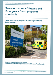 Picture shows cover of Transformation of proposed standards of urgent and emergency care report